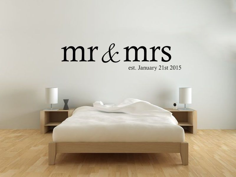 Mr Mrs Wall Art Sticker Personalised Date Modern Transfer Bedroom Quotes